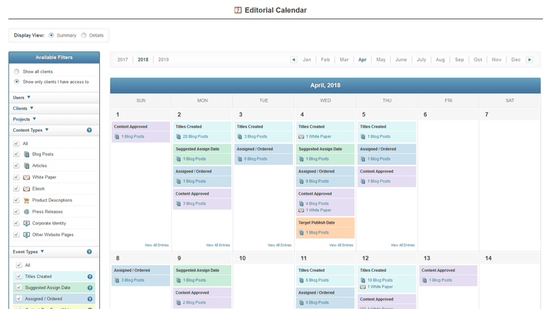 Integrated Calendar Shows Your Content Schedule and Activity